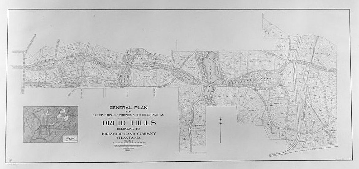 black and white map of Druid Hills